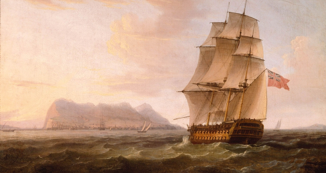 A_British_Man_of_War_before_the_Rock_of_Gibraltar_by_Thomas_Whitcombe